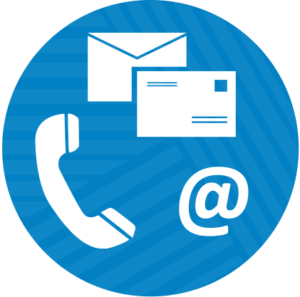contact illustration - a blue circle with an icon of headphone, letter, and at symbol